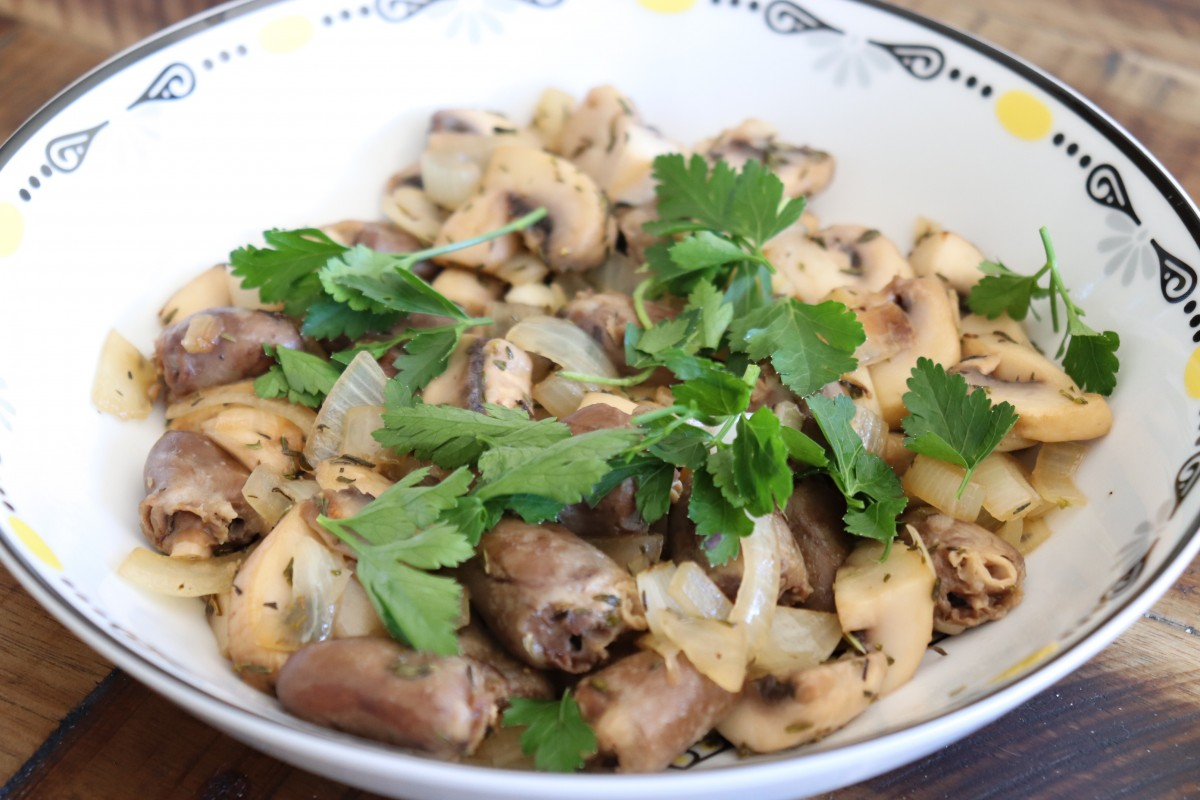 Elitsa Dineva IMG_1924 Pan-fried chicken hearts with onion and mushrooms (AIP, Paleo) Recipes