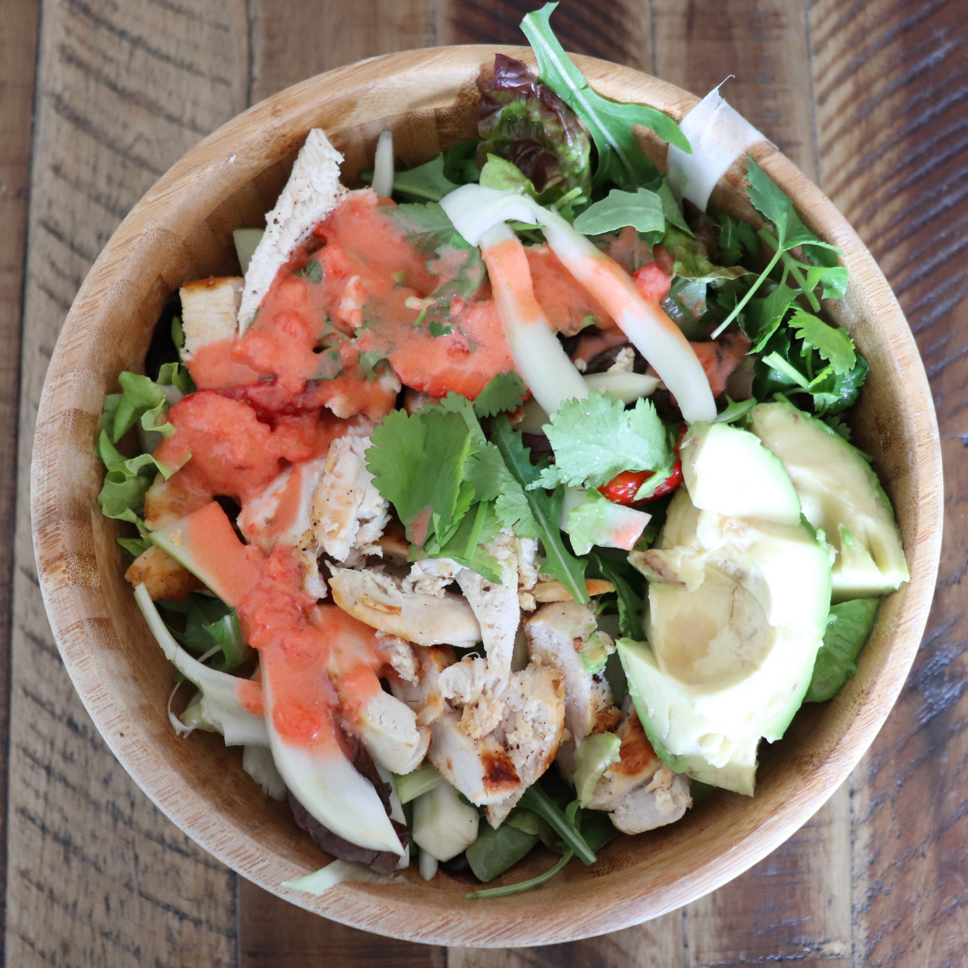 Fennel and chicken salad with strawberry dressing